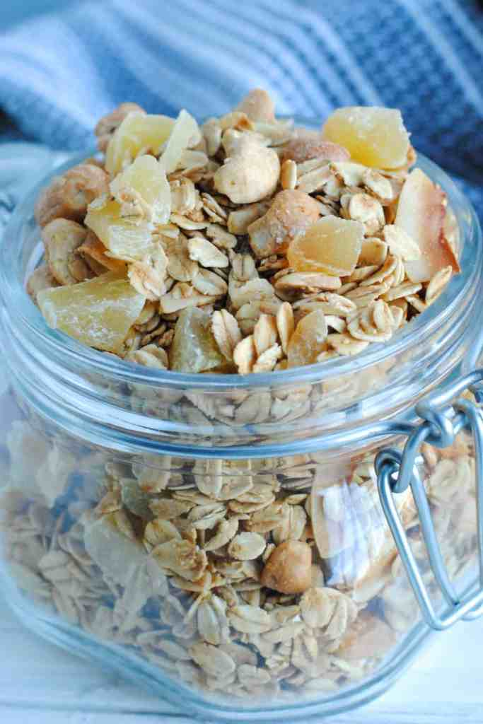 granola with ginger almonds and cashews in a jar
