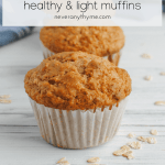 healthy and light cinnamon oatmeal muffins on white surface with loose oats