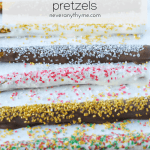 chocolate dipped pretzels topped with sprinkles on tray with text chocolate dipped pretzels neveranythyme.com