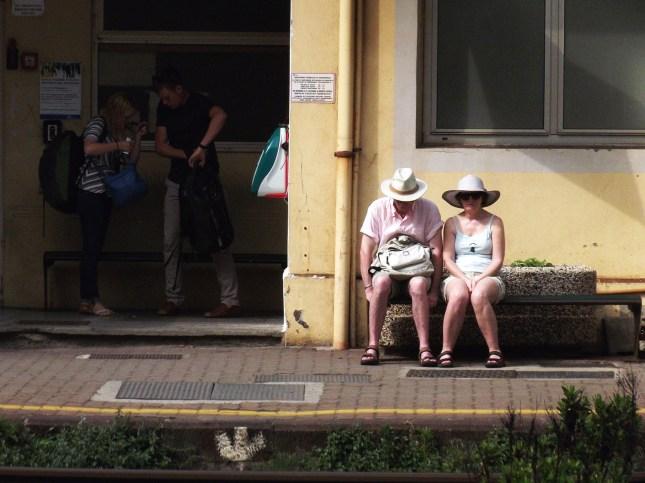 Couple at the Riomaggiore station