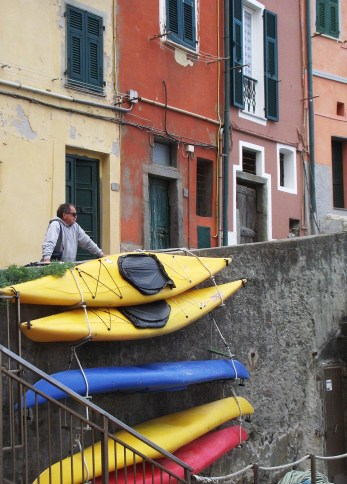 Riomaggiore boats and local people