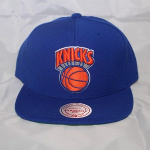 New York Knicks NBA Team Solid Wool Mitchell and Ness Snapback Cap