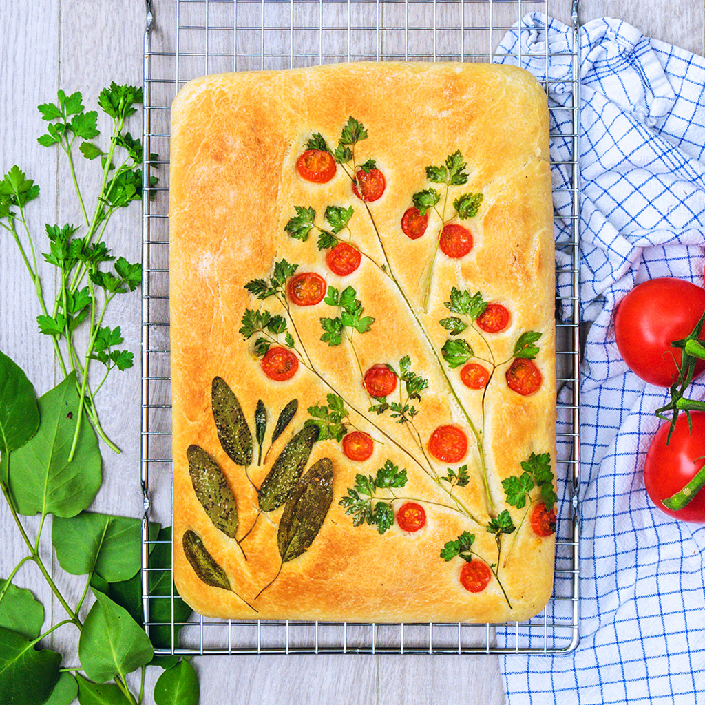 Focaccia Garden with Baby Tomatoes