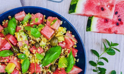 Watermelon Salad with Mint & Lime Yoghurt