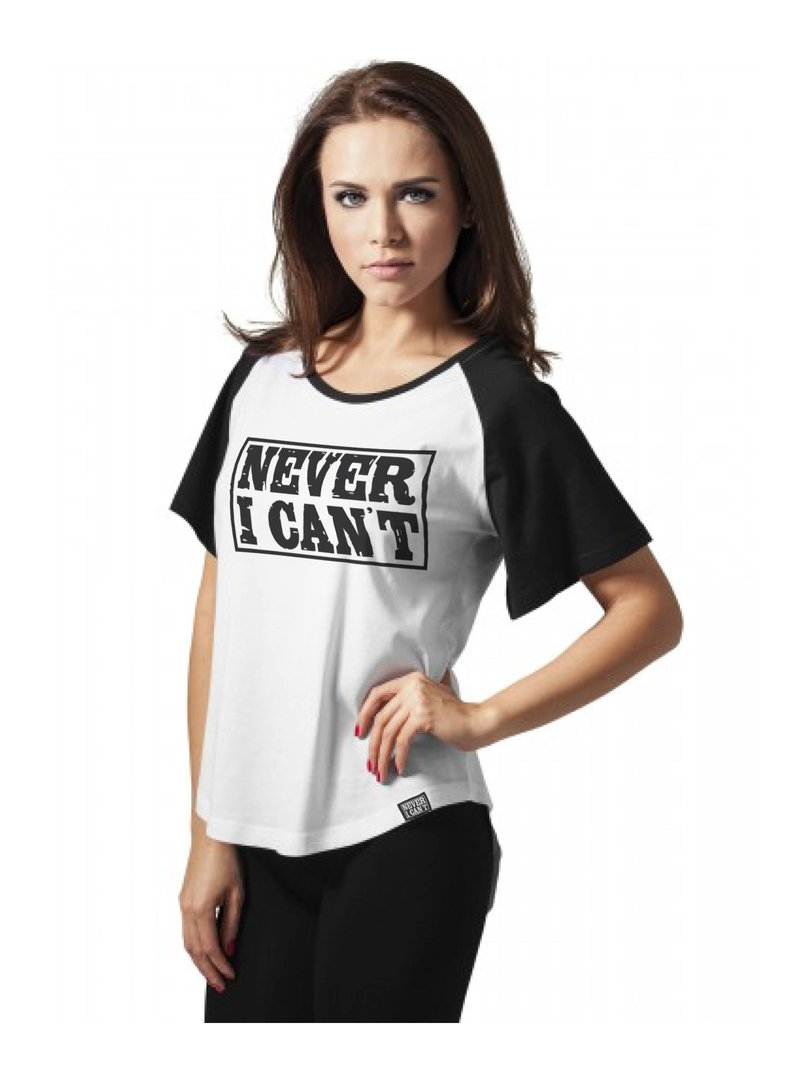 Camiseta Y Manga Beisbolera Corta Blanca Mujer NegraNevericant 9YEI2beWDH