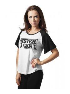 camiseta manga corta mujer beisbolera blanca y negra