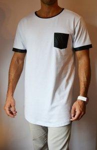 TB0827 camiseta long blanca con bolsillo polipiel lateral