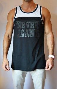 TB0977 Camiseta de tirantes poliester negra y blanca delantera
