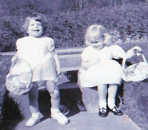 Teresa and Lisa ready to hunt Easter Eggs 1960's