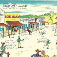 Cartoon Dodge City shootout postcard
