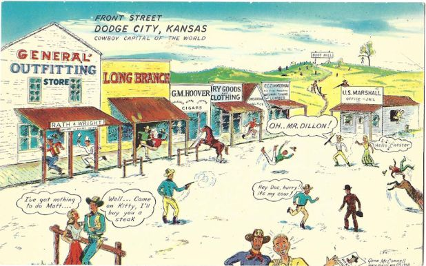 Dodge City cartoon postcard
