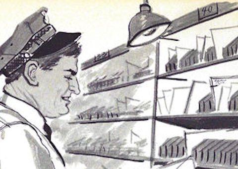 Retro Mailman sorting letters
