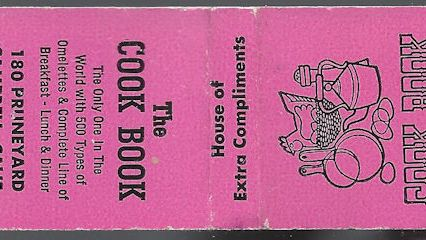 Matchbook from the defunct Cookbook Diner