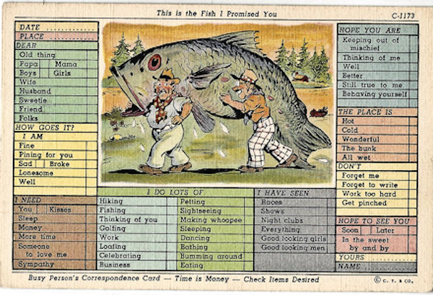 Busy person's postcard- big fish C-1173
