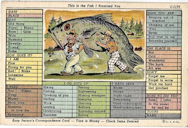 Busy person's postcard- big fish C-1173