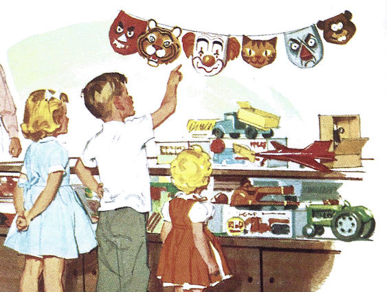 Dick, Jane and Sally, looking for masks to wear to the grocery.