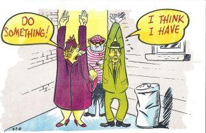 Couple getting mugged laff gram postcard