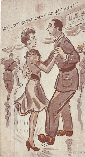 USO volunteer dancing with a clumsy soldier. WWII era Postcard