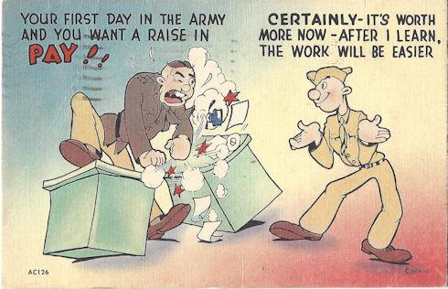 WWII comic postcard - new GI wants a raise