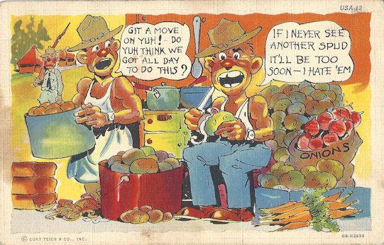Comic WWII postcard, sunburned GI's doing KP