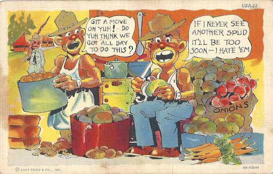 Comic WWII postcard, sunburned GI's doing KP