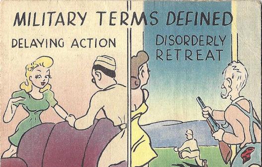 WWII Comic postcard- Military Terms