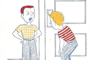 "Comic Card ""Doorknob peeking"""