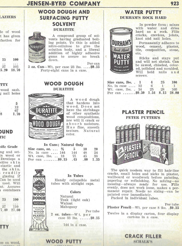 A page from the 1951 Jensen Byrd supply catalog