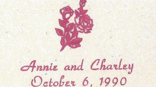 Matchbook from Annie Charley nuptuals October 6th 1990