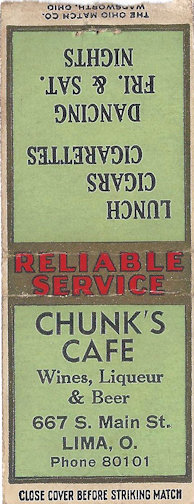 Matchbox from Chunk's Cafe in Lima, Ohio
