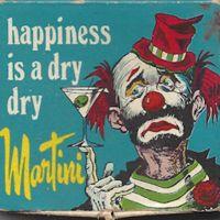 Sad martini-drinking clown matchbox