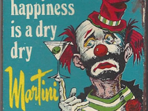Sad martini-drinking clown matchbox