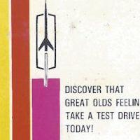 Discover that Great Olds Feeling dealership matchbook