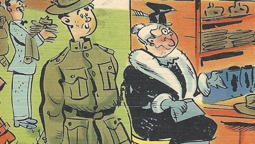 WWII postcard, Elmer's mom helps at book camp