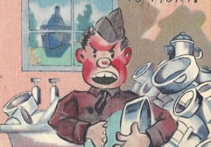 WWII private does KP but would rather fight... cartoon postcard
