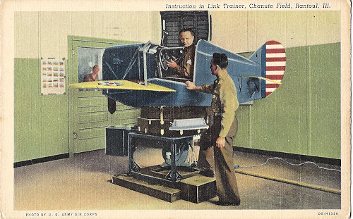 Army Air Corps. WWII era flight trainer, looks like a Chuck E Cheese refugee.