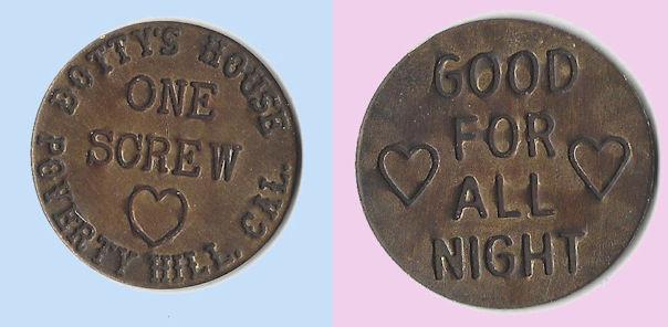 Whorehouse token for one screw, brass.