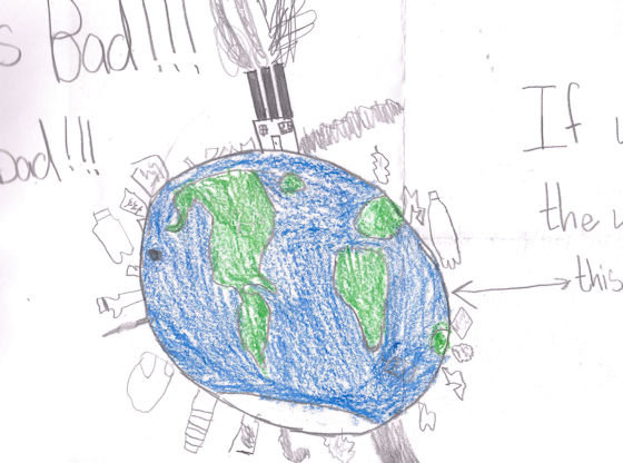 Child's drawing of a polluted earth.