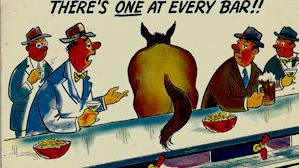 Cartoon horse in bar postcard