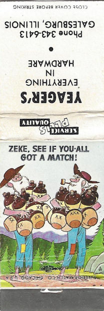 Zeke hillbilly matchbook