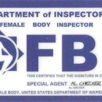 """Female Body Inspector"" novelty card"
