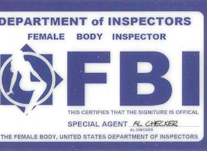 """Female Body Inspector"" novelty card"
