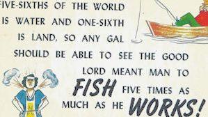 Fishing math comic postcard