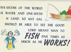 Fishing math comic postcard