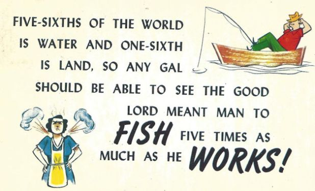 """Fish five times as you work"" comic postcard"