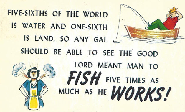 """Fish five times as you work"" comic postcard"