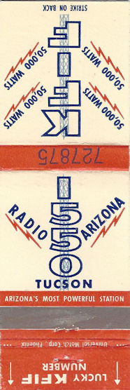 KFIF Tucson lucky number promotion matchbook.