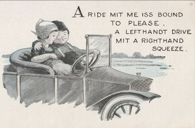 """""""A ride mit me"""" postcard, lovers in a jalopy"""