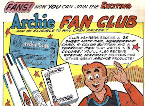 Archie Comics fan club ad