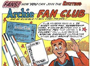 Archie Comics fan club ad
